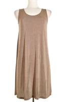 Short tank dress - taupe - polyester/spandex
