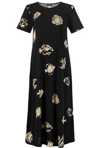 Short sleeve long dress - fish print on black background - polyester/spandex