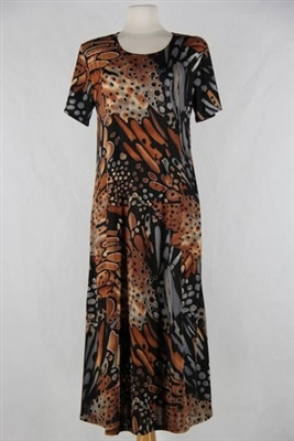 Short sleeve dress - long - brown/grey print  - polyester/spandex