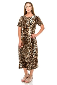 Short sleeve dress - long - brown leopard print  - polyester/spandex