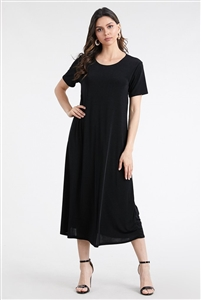 Short sleeve long dress - black - polyester/spandex