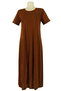 Short sleeve long dress - brown - polyester/spandex