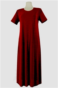 Short sleeve long dress - burgundy - polyester/spandex
