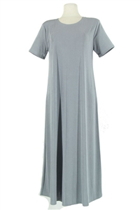 Short sleeve long dress - grey - polyester/spandex