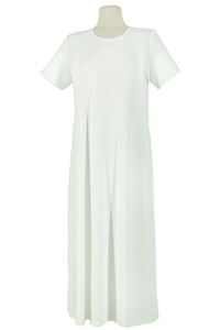 Short sleeve long dress - ivory -  polyester/spandex