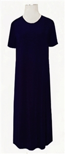 Short sleeve long dress - navy - polyester/spandex