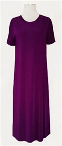 Short sleeve long dress - purple - polyester/spandex
