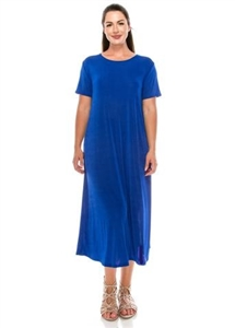Short sleeve long dress - royal blue - polyester/spandex
