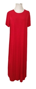 Short sleeve long dress - red - polyester/spandex