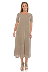 Short sleeve long dress - taupe - polyester/spandex