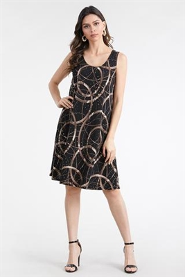 Knee length tank dress - black/gold print - polyester/spandex
