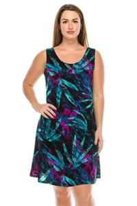 Short tank dress - turquoise/purple leaves - polyester/spandex