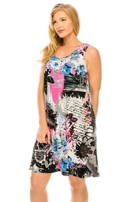 Short tank dress - pink/grey print - polyester/spandex