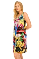 Short tank dress - yellow multi print - polyester/spandex