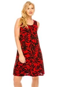 Knee length tank dress - red/black print -  polyester/spandex