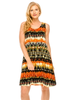 Knee length tank dress - rust multi print -  polyester/spandex
