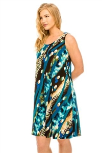 Knee length tank dress - teal multi print -  polyester/spandex