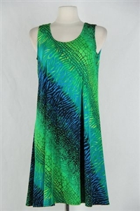 Knee length tank dress - green tie dye print -  polyester/spandex