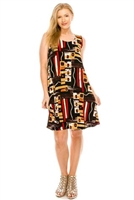 Knee length tank dress - black/red/gold print - polyester/spandex