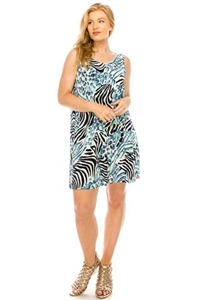 Knee length tank dress - turquoise/zebra -  polyester/spandex