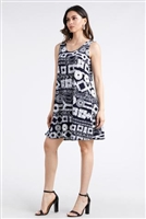 Knee length tank dress - navy/white print -  polyester/spandex