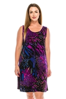 Knee length tank dress - blue/purple print -  polyester/spandex