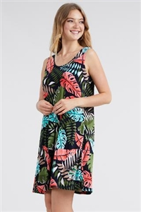 Knee length tank dress - olive/coral palms - polyester/spandex