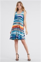 Knee length tank dress - blue/rust stripes - polyester/spandex