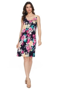 Knee length tank dress - black with pink/yellow flowers -  polyester/spandex