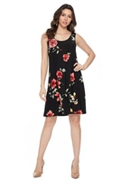 Knee length tank dress - black with red flowers -  polyester/spandex