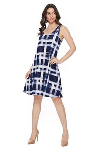 Knee length tank dress - navy/white checkered print  -  polyester/spandex