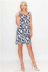 Knee length tank dress - navy print on white -  polyester/spandex