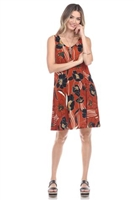 Knee length tank dress - rust/black print - polyester/spandex