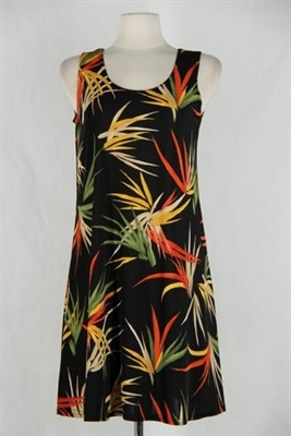 Knee length tank dress - black with colorful leaves -  polyester/spandex