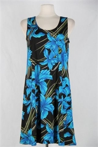 Knee length tank dress - blue iris -  polyester/spandex
