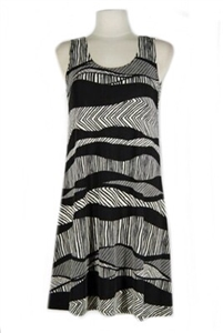 Short tank dress - black/white waves - polyester/spandex