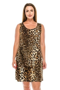 Knee length tank dress - brown leopard print  -  polyester/spandex