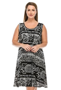 Short tank dress - black/white Aztec - polyester/spandex