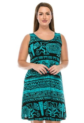 Knee length tank dress - blue/black Aztec -  polyester/spandex