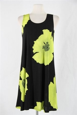 Knee length tank dress - green big flower -  polyester/spandex