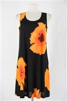 Knee length tank dress - orange big flower -  polyester/spandex