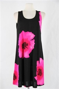Knee length tank dress - big pink flower -  polyester/spandex