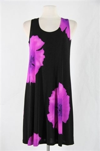 Knee length tank dress - purple big flower - polyester/spandex