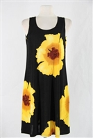 Knee length tank dress - yellow big flower -  polyester/spandex