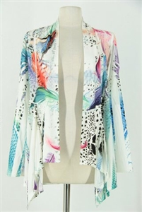 Mid-cut long sleeve jacket - colorful feathers on white - polyester/spandex