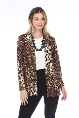 Long sleeve jacket - brown leopard - polyester/spandex