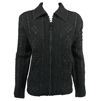 Long sleeve jacket with rhinestone zipper - black