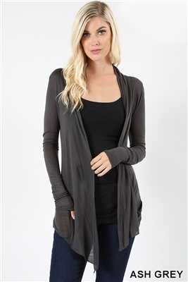 long sleeve lightweight cardigan - ash grey - rayon