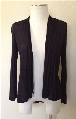 long sleeve lightweight cardigan - black - rayon