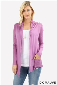 long sleeve lightweight cardigan - dark mauve - rayon